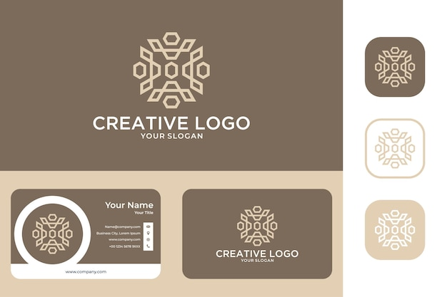 Diseño de logotipo de arte de línea de geometría de belleza y tarjeta de visita.