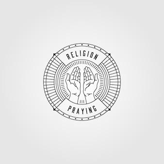 Diseño de logotipo de arte de línea de manos rezando