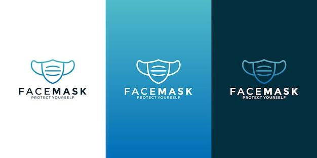 Diseño de logotipo de arte de línea de mascarilla creativa para su negocio, salud, medicina,