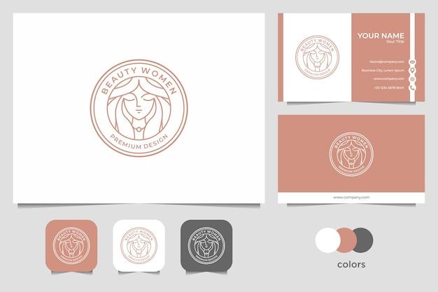 Diseño de logotipo de arte de línea de mujeres de belleza y tarjeta de visita. buen uso para el logotipo de salón y spa