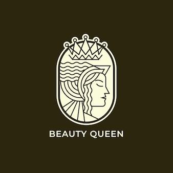 Diseño de logotipo de arte de línea de reina de belleza