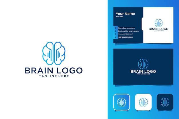 Diseño de logotipo de arte de línea de tecnología cerebral y tarjeta de visita