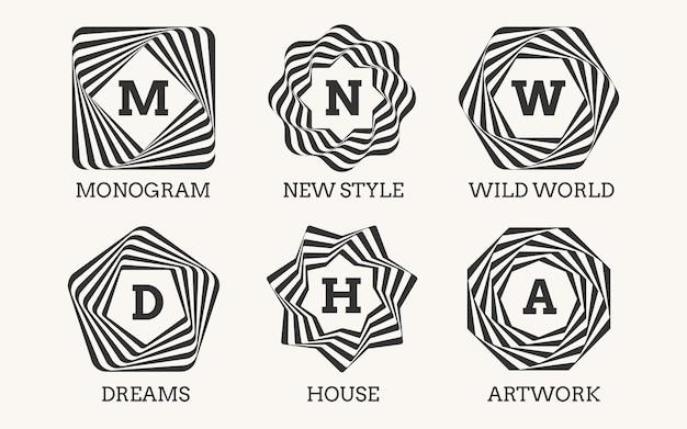 Diseño de logotipo de arte lineal o monograma. signo de adorno, marco y decoración de arte, elegante símbolo clásico agraciado