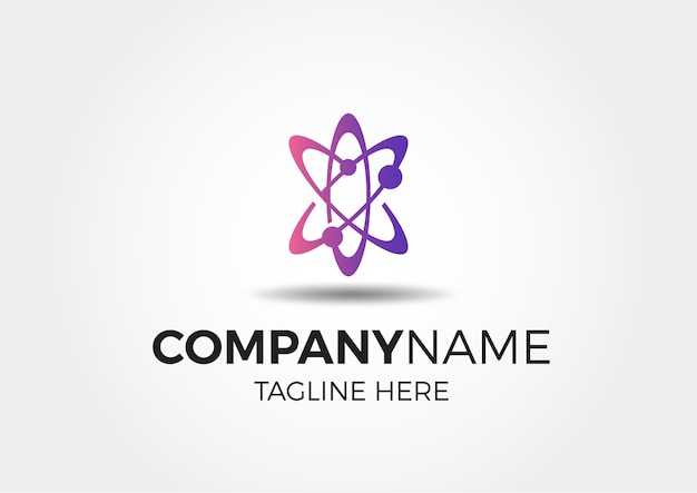 Diseño de logotipo de átomo espacial moderno