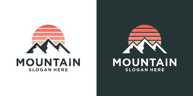 Diseño de logotipo de aventura de expedición de montaña
