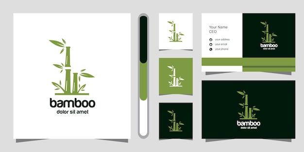 Diseño de logotipo de bambú y plantilla de tarjeta de visita.