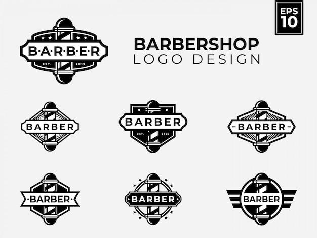 Diseño de logotipo de barbería con estilo vintage y retro para su negocio de peluquero
