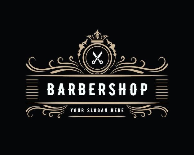 Diseño de logotipo de barbería de estilo vintage vintage de lujo antiguo adecuado para salón spa belleza peluquería moda cuidado del cabello y cuidado de la piel peluquería negocio