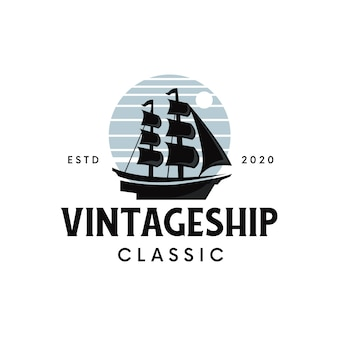 Diseño de logotipo de barco vintage