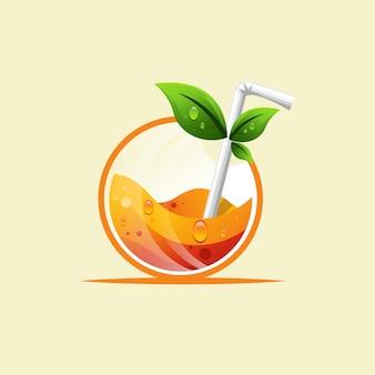 Diseño de logotipo de bebida fresca de naranja