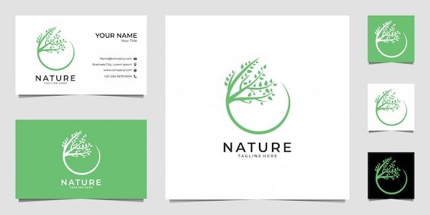 Diseño de logotipo de belleza de hoja de naturaleza y tarjeta de visita