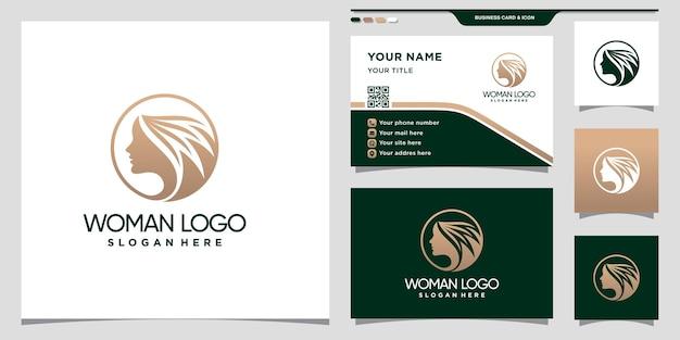 Diseño de logotipo de belleza para mujer con estilo de arte lineal y diseño de tarjeta de presentación.