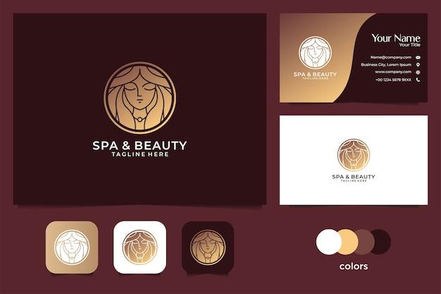 Diseño de logotipo de belleza mujer oro y tarjeta de visita. buen uso del logo de spa y salón de belleza.