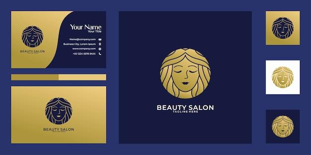 Diseño de logotipo de belleza mujer oro y tarjeta de visita. buen uso para el logotipo de salón, spa y moda.