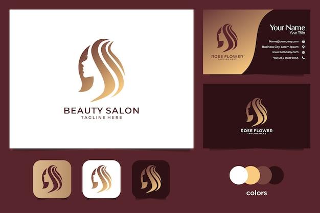 Diseño de logotipo de belleza mujer oro y tarjeta de visita. buen uso de la moda y el logotipo del salón
