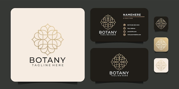 Diseño de logotipo de belleza de spa de adorno de botánica dorado minimalista para empresas