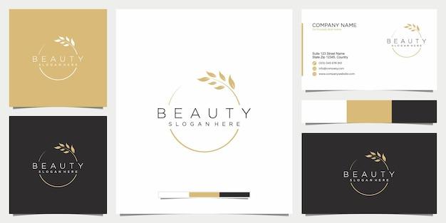 Diseño de logotipo de belleza y tarjeta de presentación.