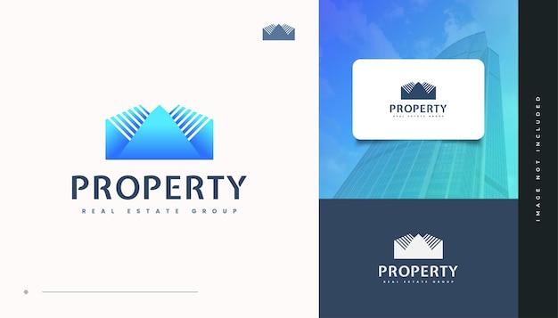Diseño de logotipo de bienes raíces abstracto y futurista en degradado azul. diseño de logo de construcción, arquitectura o edificio