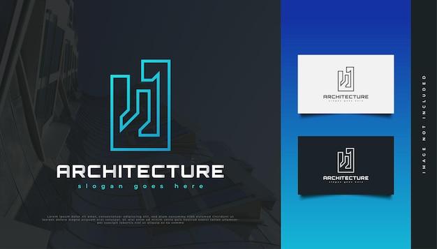 Diseño de logotipo de bienes raíces abstracto y futurista con estilo de línea. diseño de logo de construcción, arquitectura o edificio