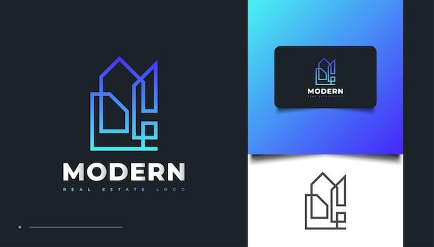 Diseño de logotipo de bienes raíces abstracto y moderno en degradado azul con estilo de línea. diseño de logo de construcción, arquitectura o edificio
