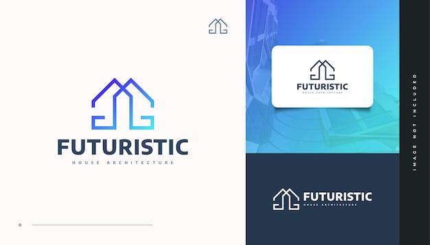 Diseño de logotipo de bienes raíces azul futurista con estilo de línea. diseño de logo de construcción, arquitectura o edificio