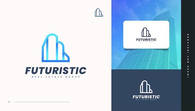 Diseño de logotipo de bienes raíces azul futurista con estilo de línea. diseño de logo de construcción, arquitectura o edificio Vector Premium