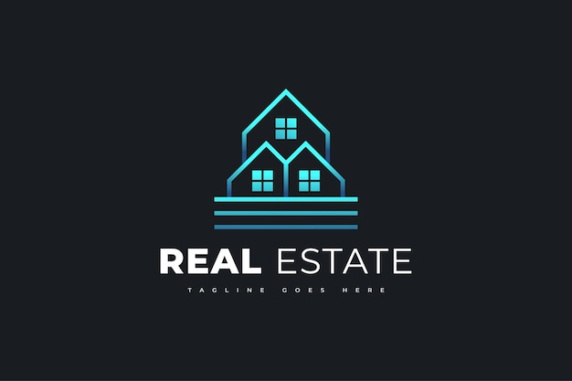 Diseño de logotipo de bienes raíces azul moderno