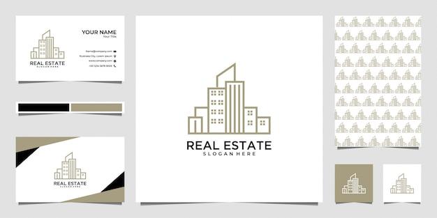 Diseño de logotipo de bienes raíces de la ciudad y tarjeta de visita