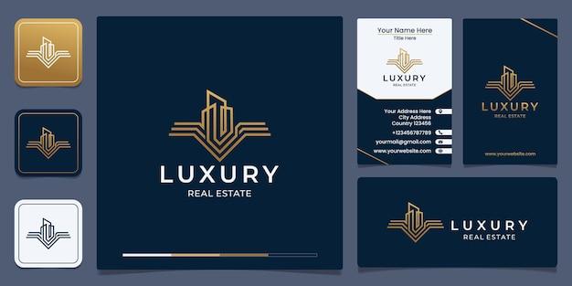 Diseño de logotipo de bienes raíces de lujo y diseño de tarjetas de presentación.