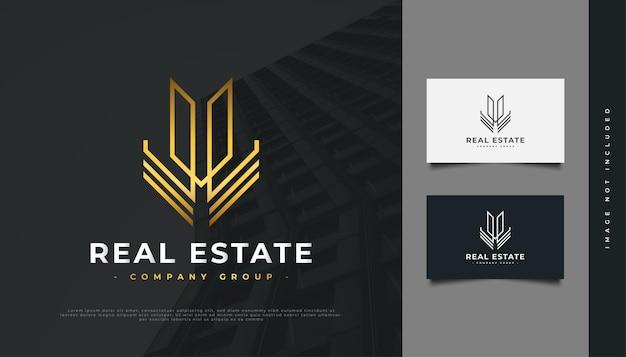 Diseño de logotipo de bienes raíces de oro abstracto con estilo de línea. diseño de logo de construcción, arquitectura o edificio
