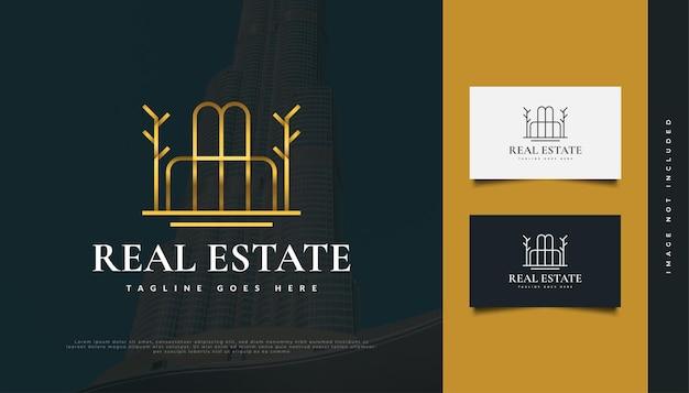 Diseño de logotipo de bienes raíces de oro de lujo abstracto con estilo de línea. diseño de logo de construcción, arquitectura o edificio