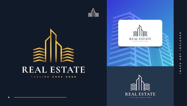 Diseño de logotipo de bienes raíces de oro de lujo con estilo de línea. diseño de logo de construcción, arquitectura o edificio