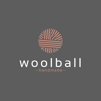 Diseño de logotipo de bola de lana