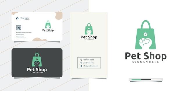 Diseño de logotipo de bolsa de cabeza de perro y tarjeta de visita.