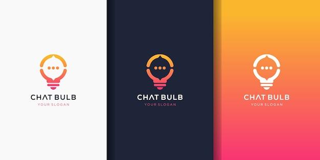 Diseño de logotipo de bombilla de chat