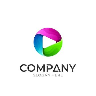 Diseño de logotipo de botón de flecha