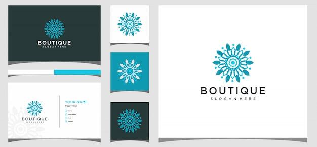 Diseño de logotipo boutique con plantilla de tarjeta de visita