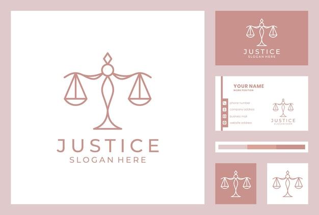 Diseño de logotipo de bufete de abogados con plantilla de tarjeta de visita.