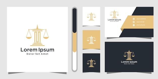 Diseño de logotipo de bufete de abogados y plantilla de tarjeta de visita.