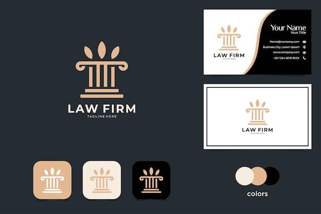 Diseño de logotipo de bufete de abogados simple y tarjeta de visita.