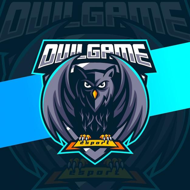 Diseño de logotipo de búho mascota juego esport