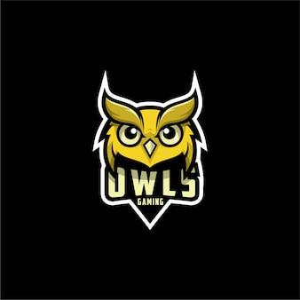 Diseño de logotipo de búhos para juegos