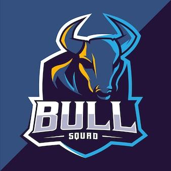 Diseño de logotipo de bull mascot esport