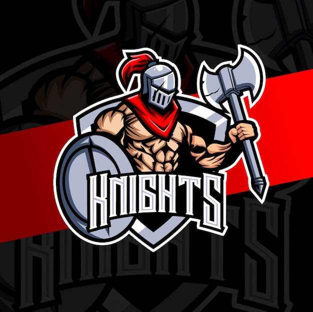 Diseño de logotipo de caballero mascota esport