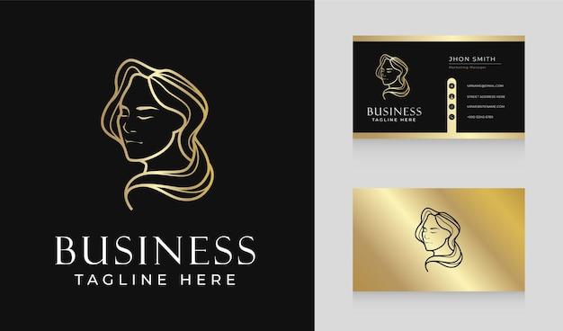 Diseño de logotipo de cabello de mujer de salón de belleza de lujo dorado con plantilla de tarjeta de visita