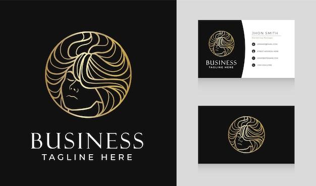 Diseño de logotipo de cabello de mujer de salón de belleza de lujo con plantilla de tarjeta de visita