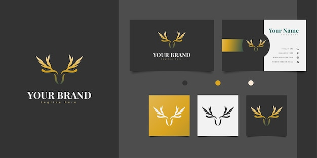 Diseño de logotipo de cabeza de ciervo con astas formando alas en elegante color dorado