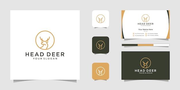 Diseño de logotipo de cabeza de ciervo con logotipo de estilo de arte lineal y tarjeta de visita