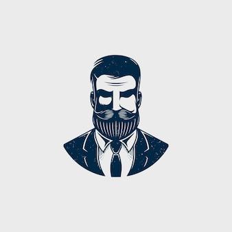 Diseño de logotipo de cabeza de hipster barbudo