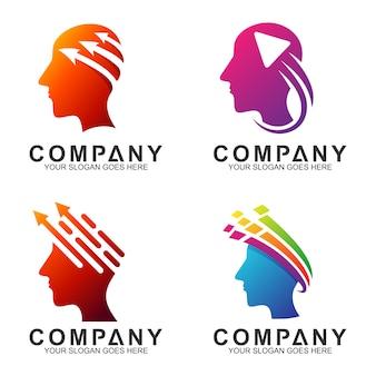 Diseño de logotipo de cabeza humana